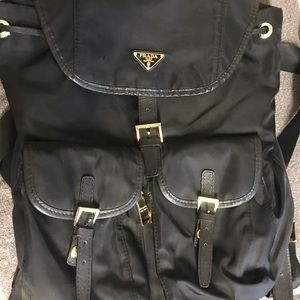 Prada vinyl backpack purse